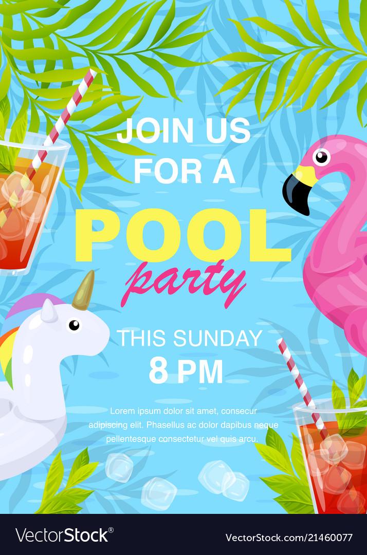 Pool party invitation design