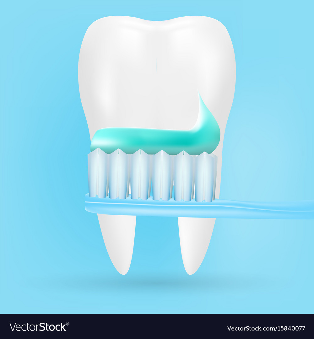 Realistic tooth and toothbrush poster stomatology