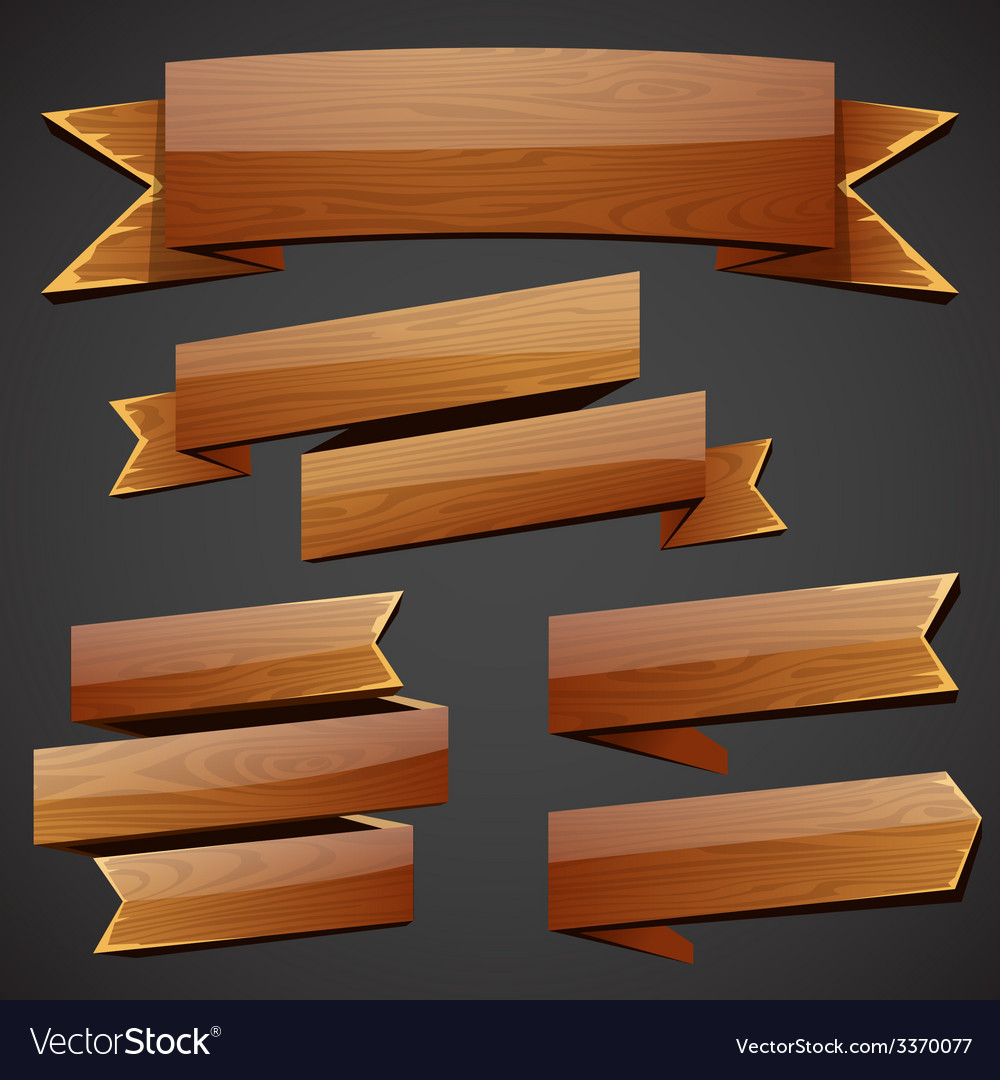 Set of wood banners