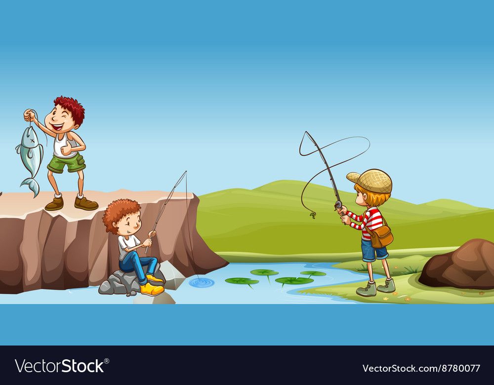 Three boys fishing at the river
