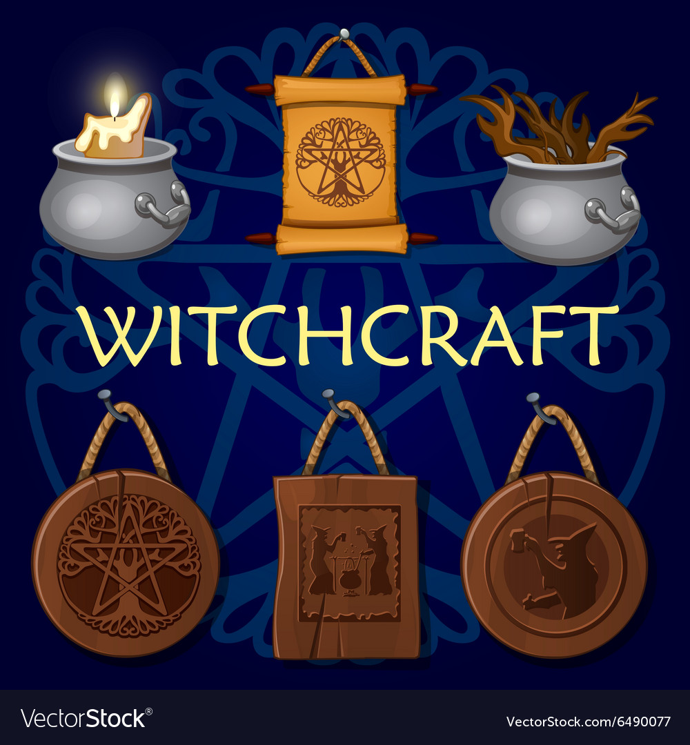Witchcraft old mystic symbols