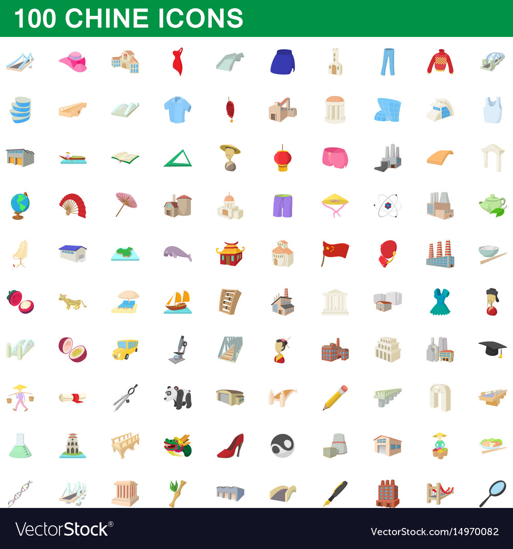 100 chine icons set cartoon style