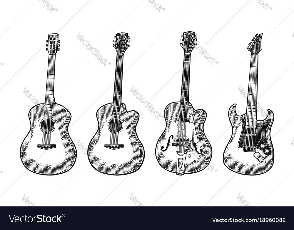 Acoustic and electric guitar vintage black
