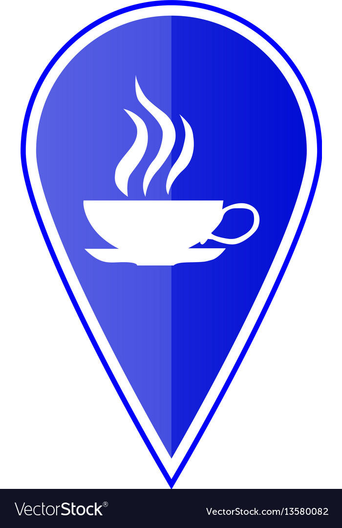 Blue map pointer with cup icon