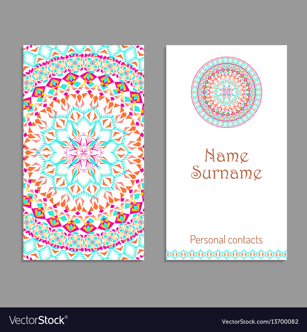 business card template ethnic tribal ornaments vector image