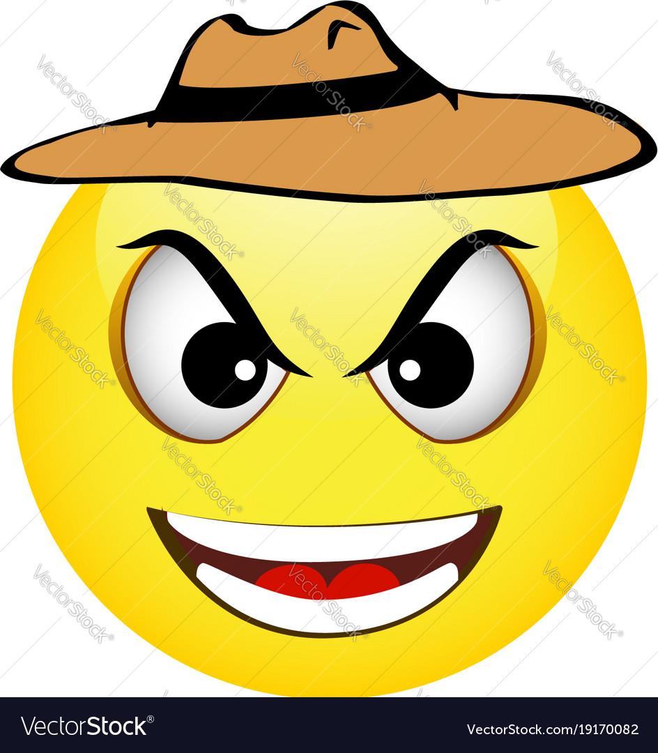 Cowboy yellow emoticon vector image