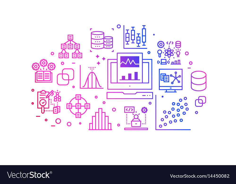 Data analysis gradient line icons vector image