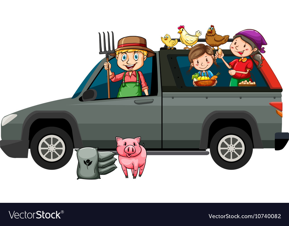 Farmers in gray truck vector image