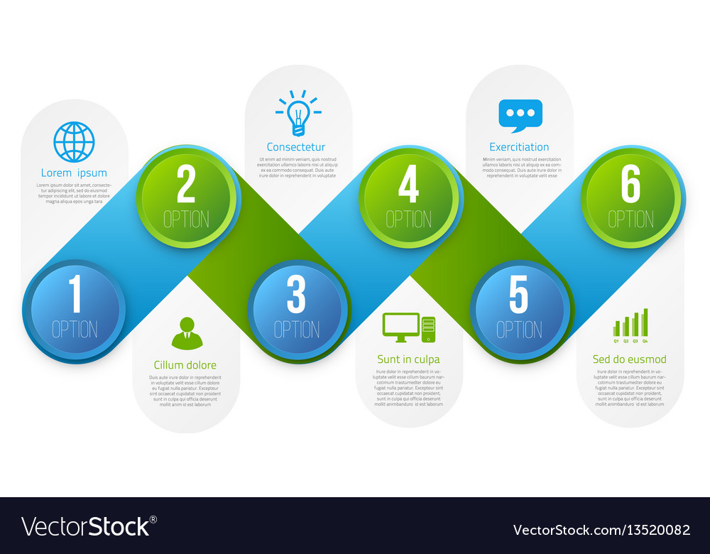 Infographics with 6 steps or options blue and