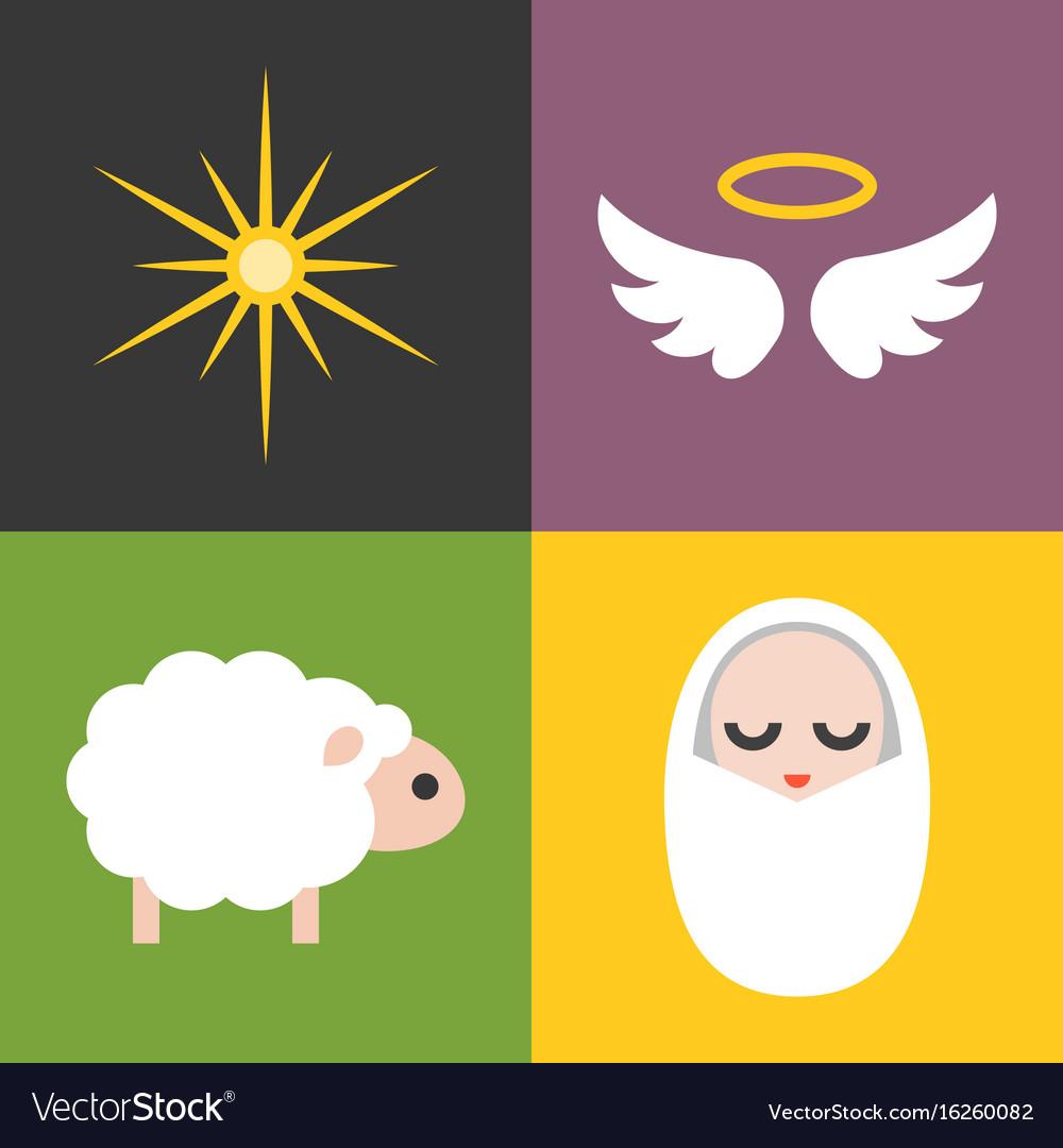 Jesus born icons set