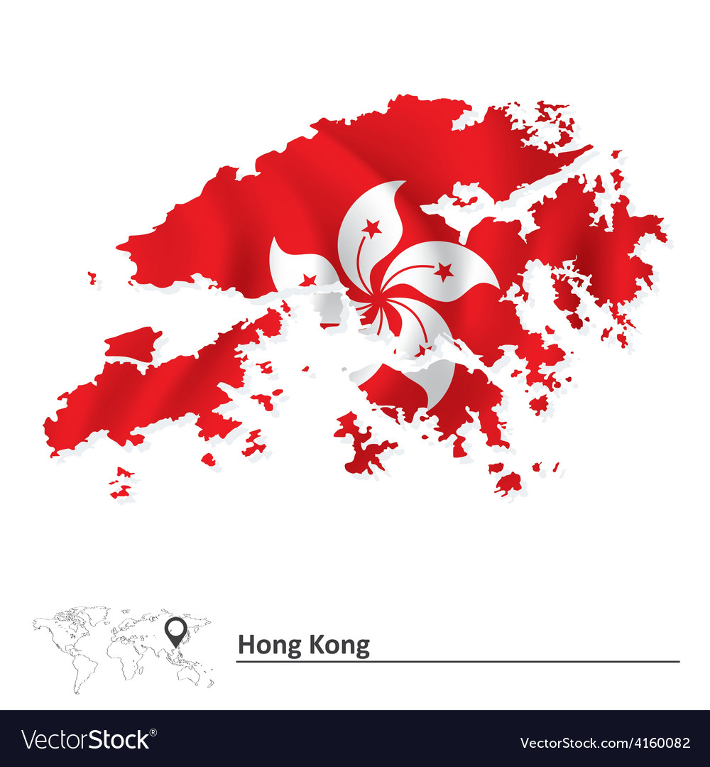 Hong Kong Flag Map Map of Hong Kong with flag Royalty Free Vector Image