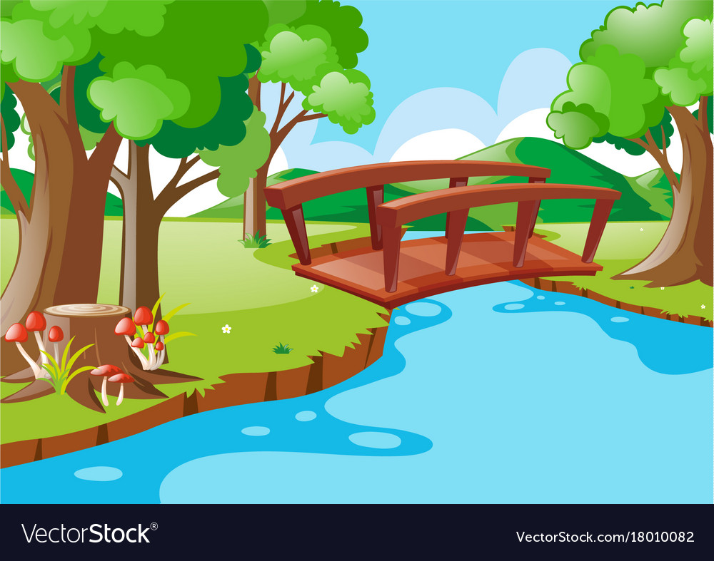 Nature Scene With Bridge Crossing River Royalty Free Vector