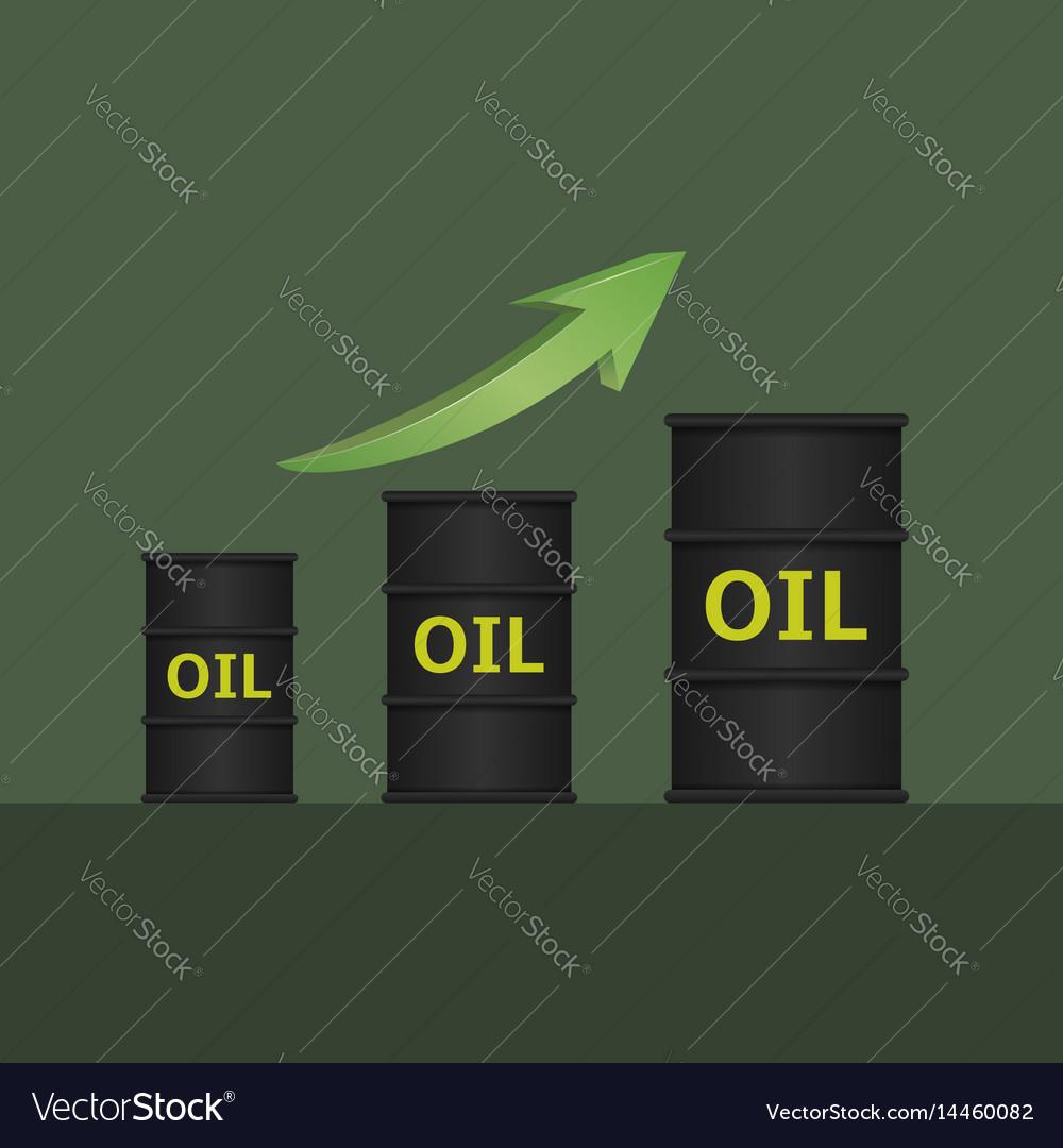 Oil barrels with green arrow
