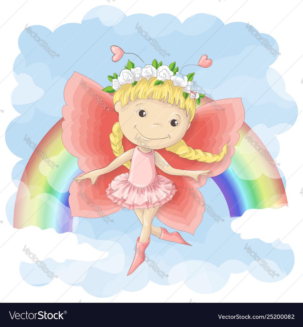 Postcard a cute little fairy on
