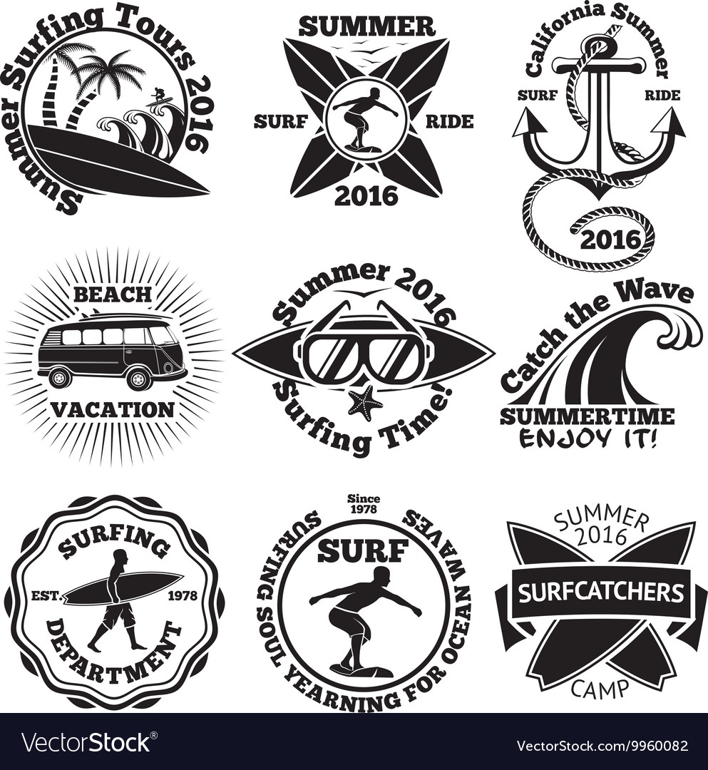 Set Of Vintage Surfing Labels With