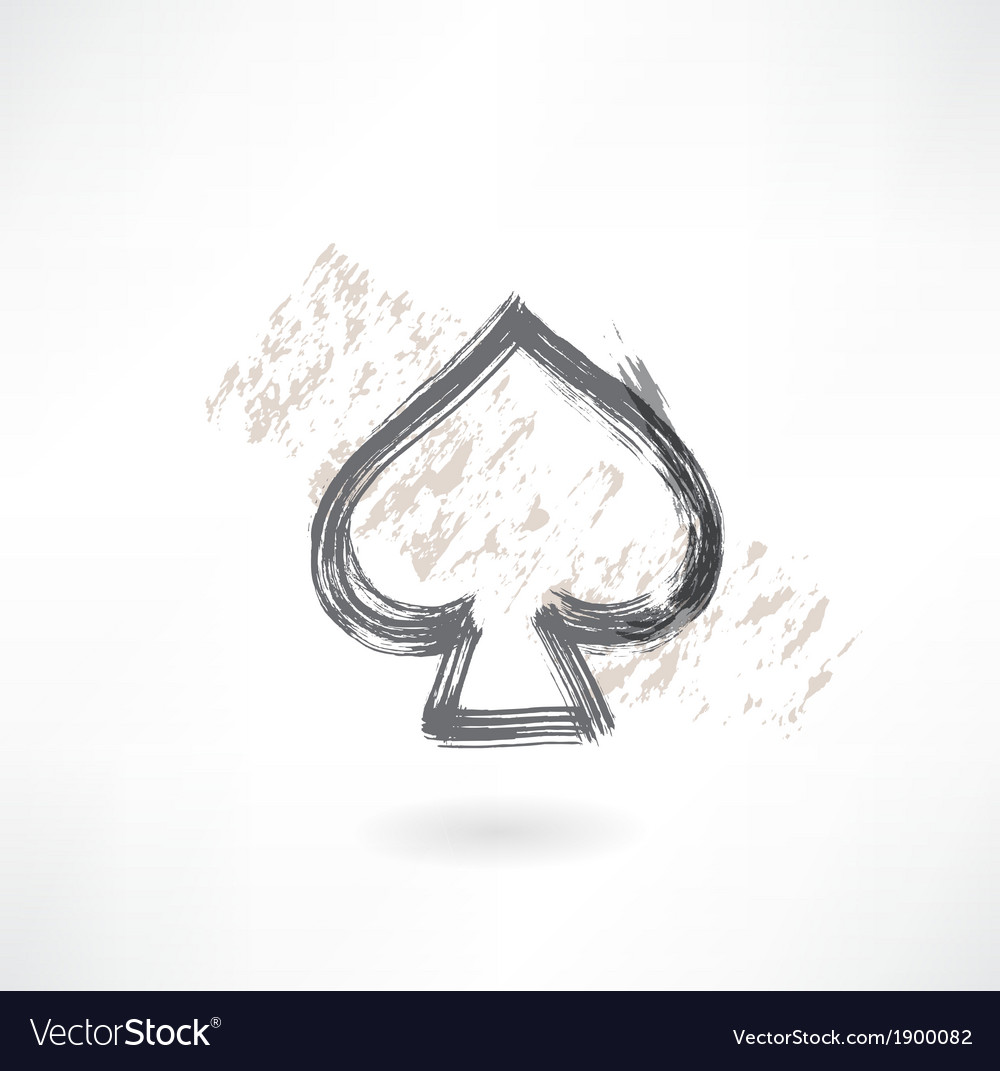 Spades cards grunge icon vector image
