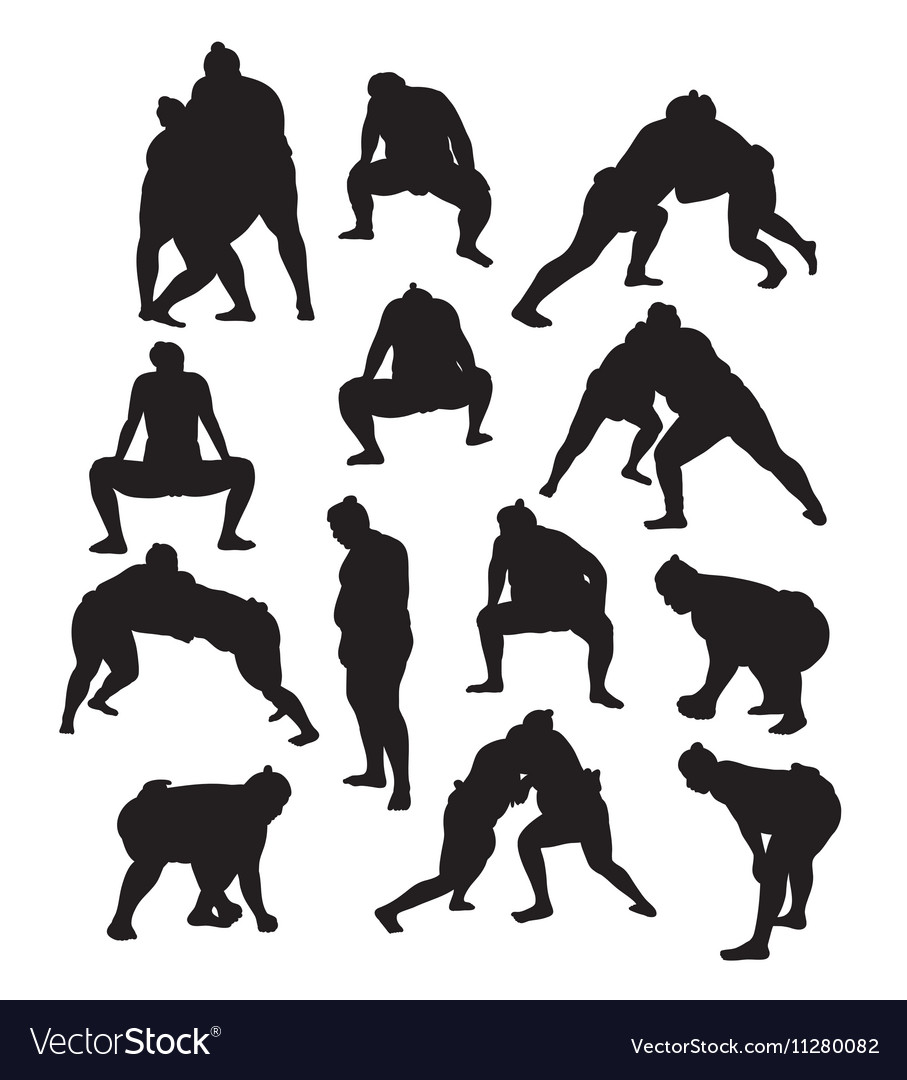 Sumo Traditional Sport Silhouettes vector image