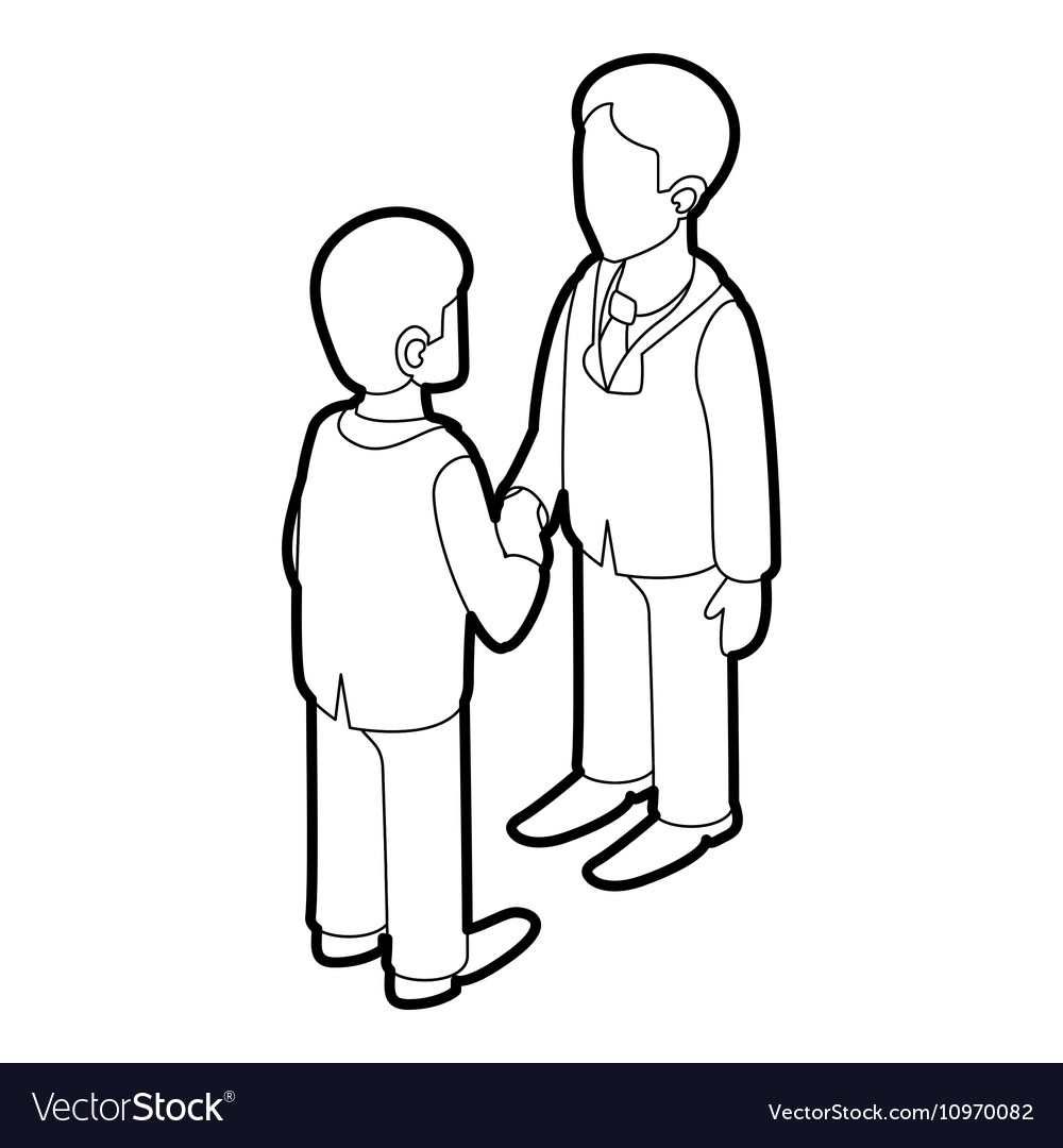 Two businessmen shaking hands icon outline style