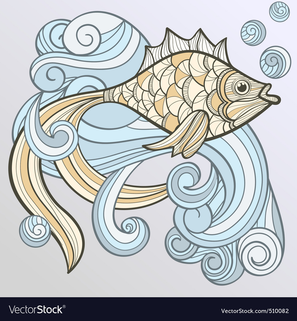Vector abstract fish on splash of water vector image