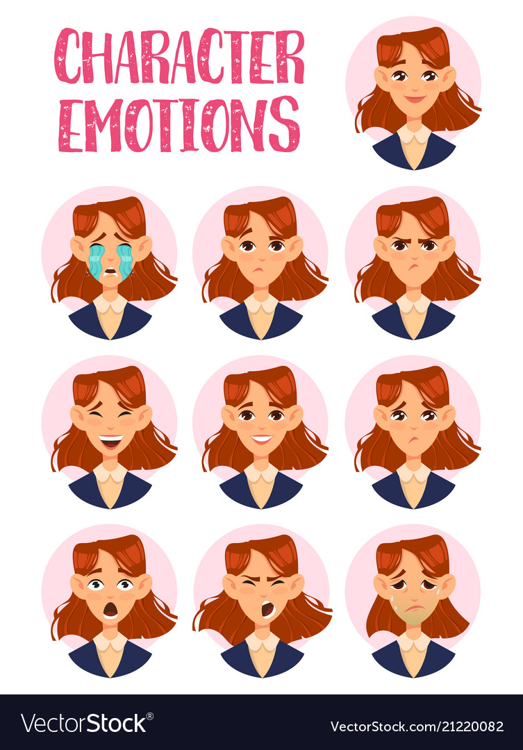 Woman or lady girl faces with emotions