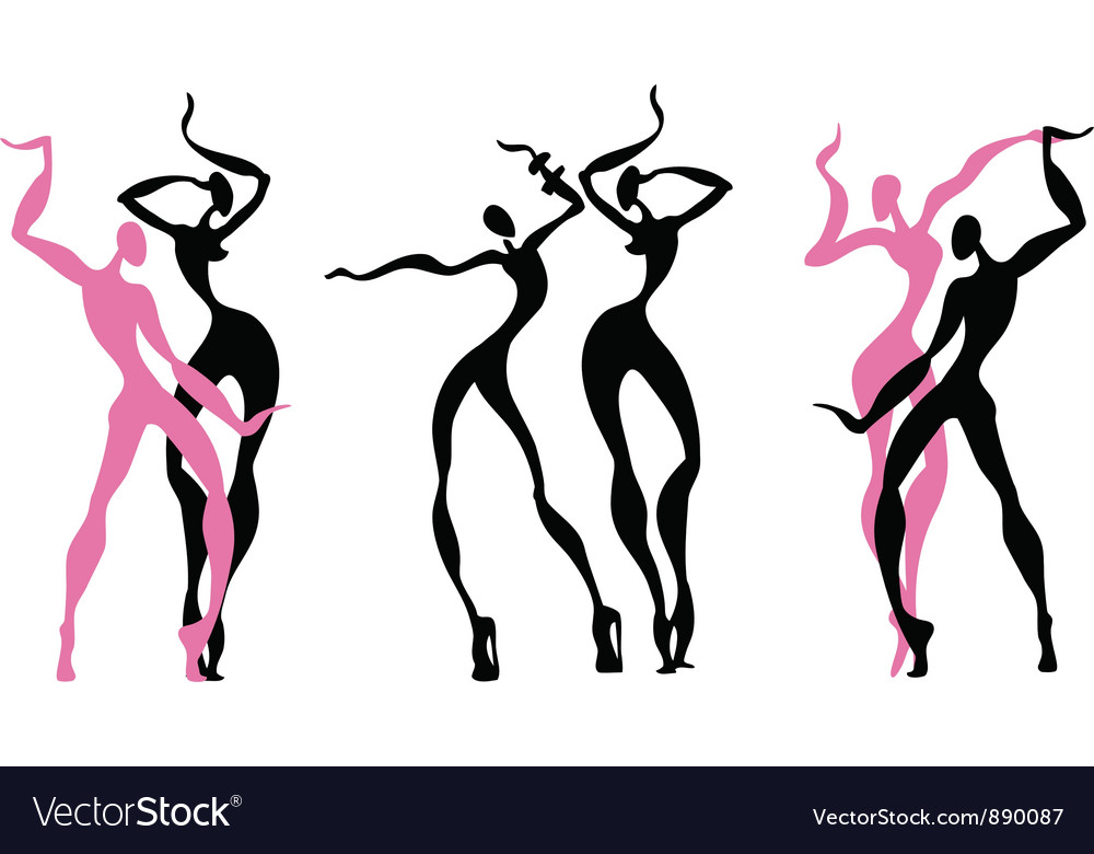 Abstract dancing figures vector
