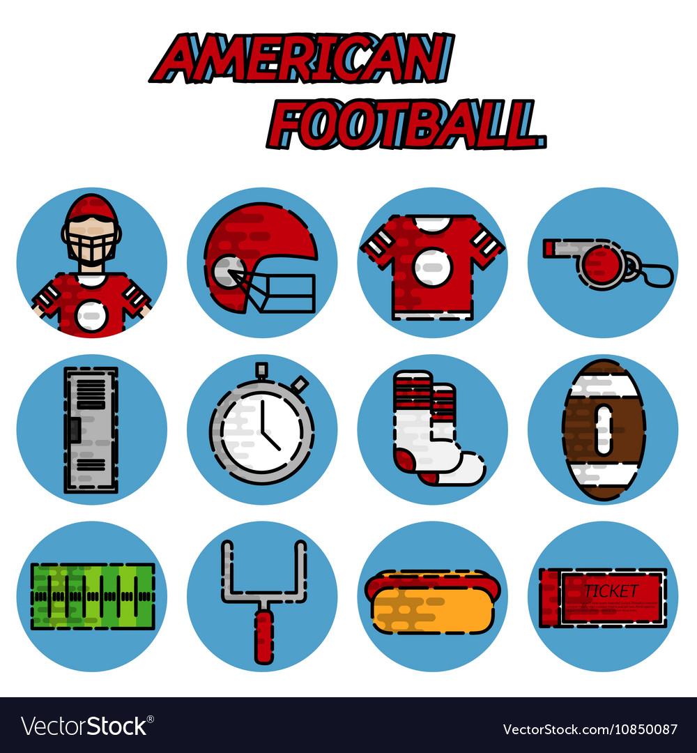 American football flat icon set