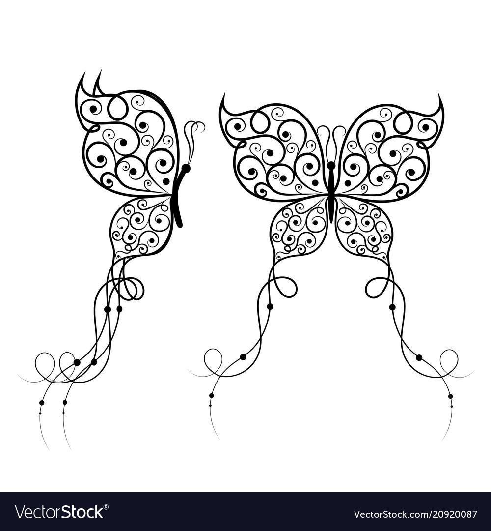 Beautiful butterflies with swirl pattern
