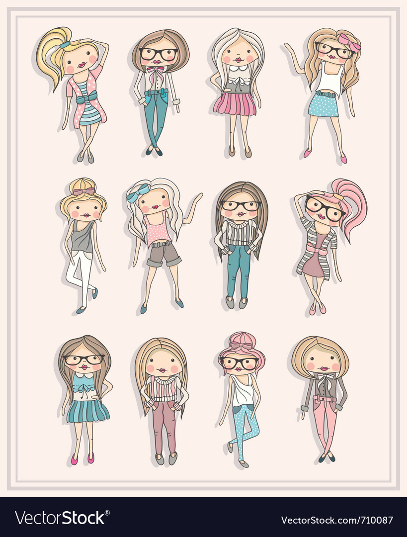 Cartoon girls fashion children set of cute girls vector image