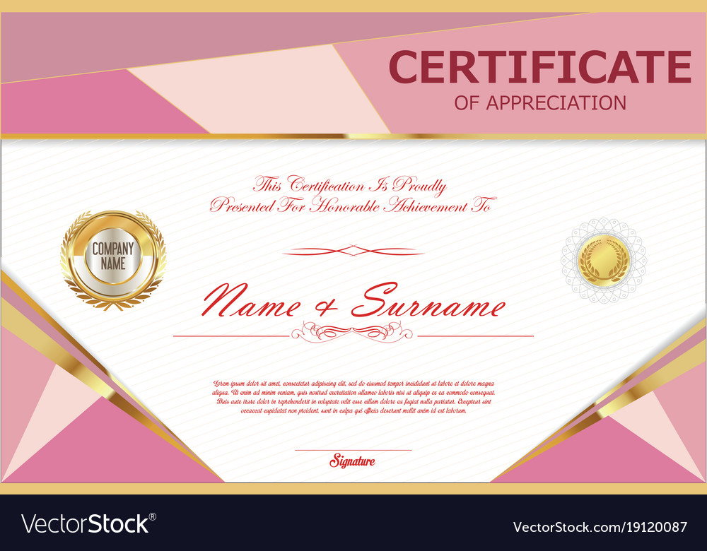 Certificate Retro Design Template 8 Royalty Free Vector