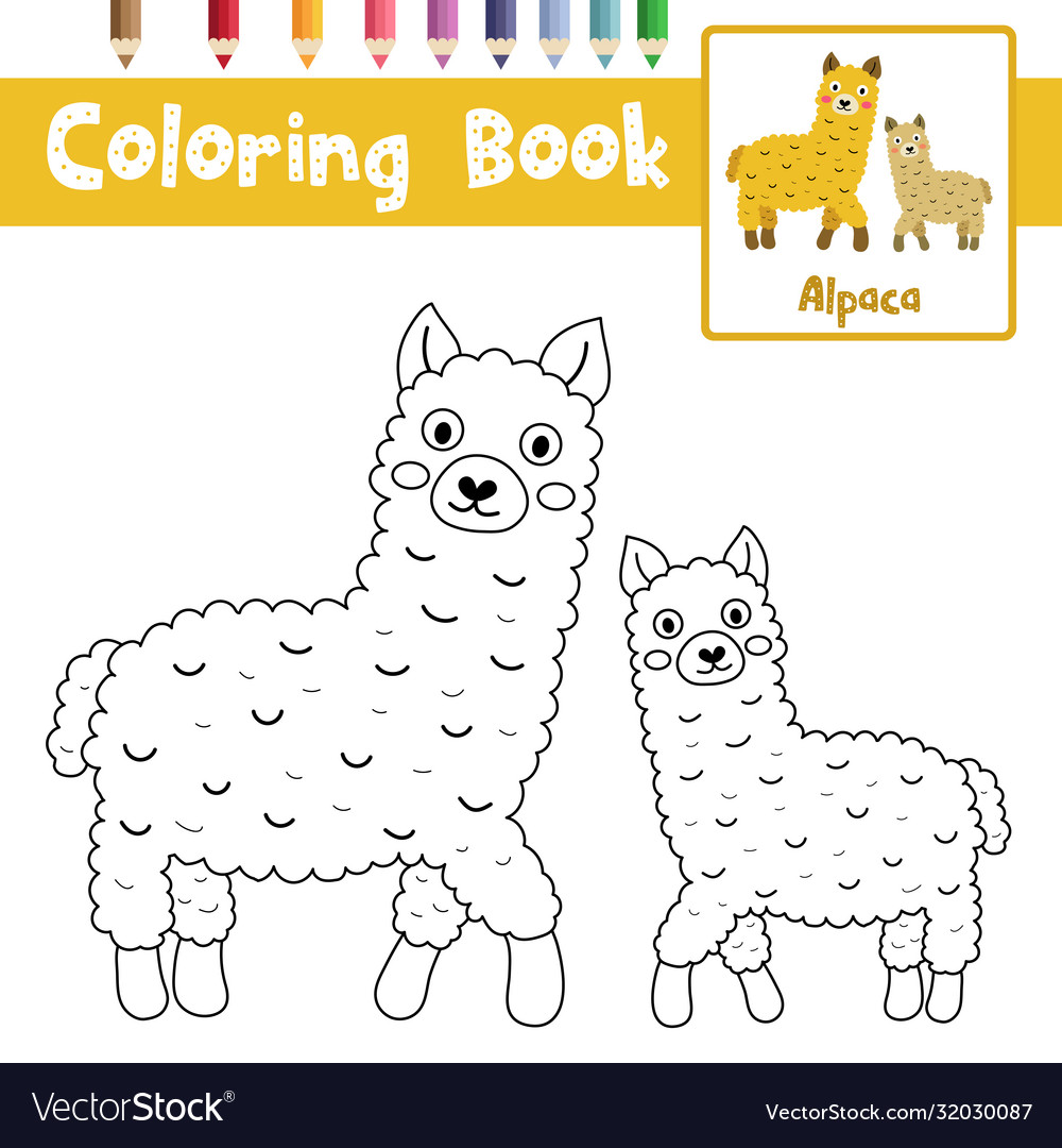Coloring Page Mother And Child Alpacas Royalty Free Vector