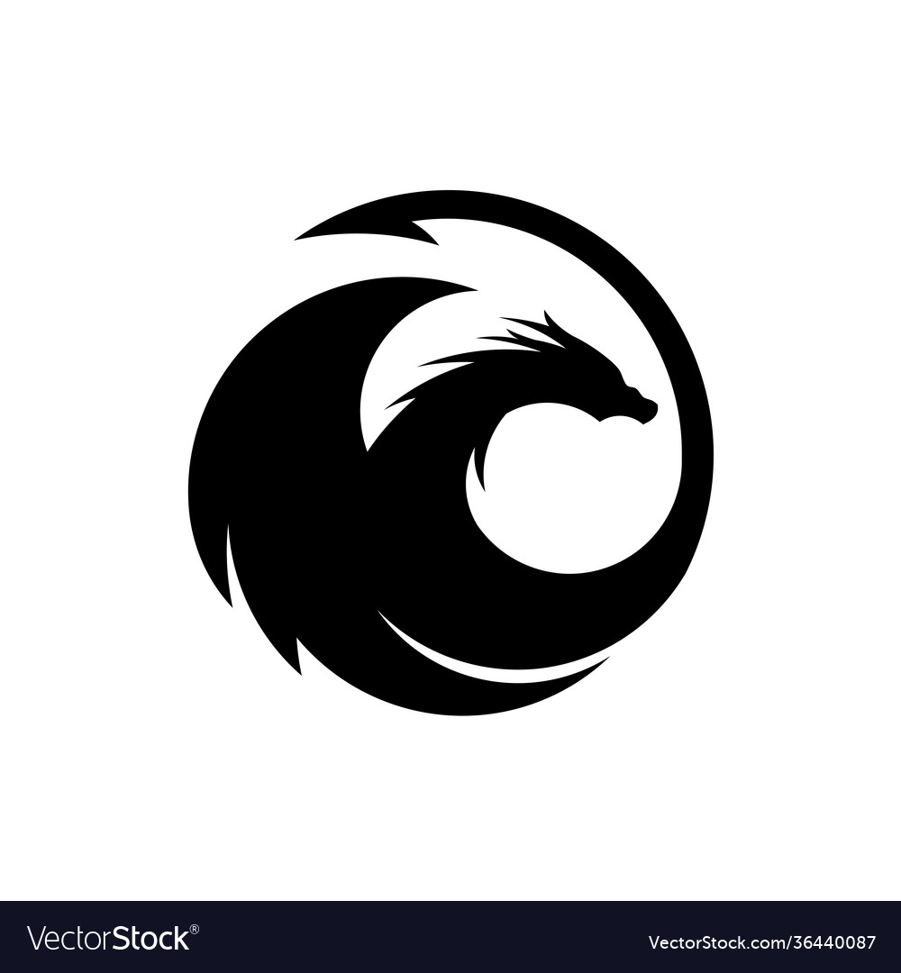 Dragon silhouette circle logo design