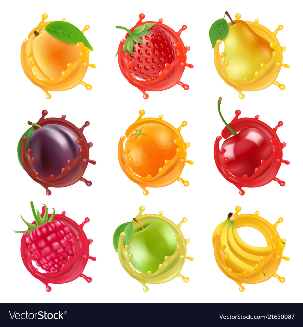 Fruits in juicy splashes realistic