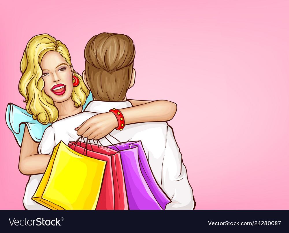 Happy woman shopping pop art concept