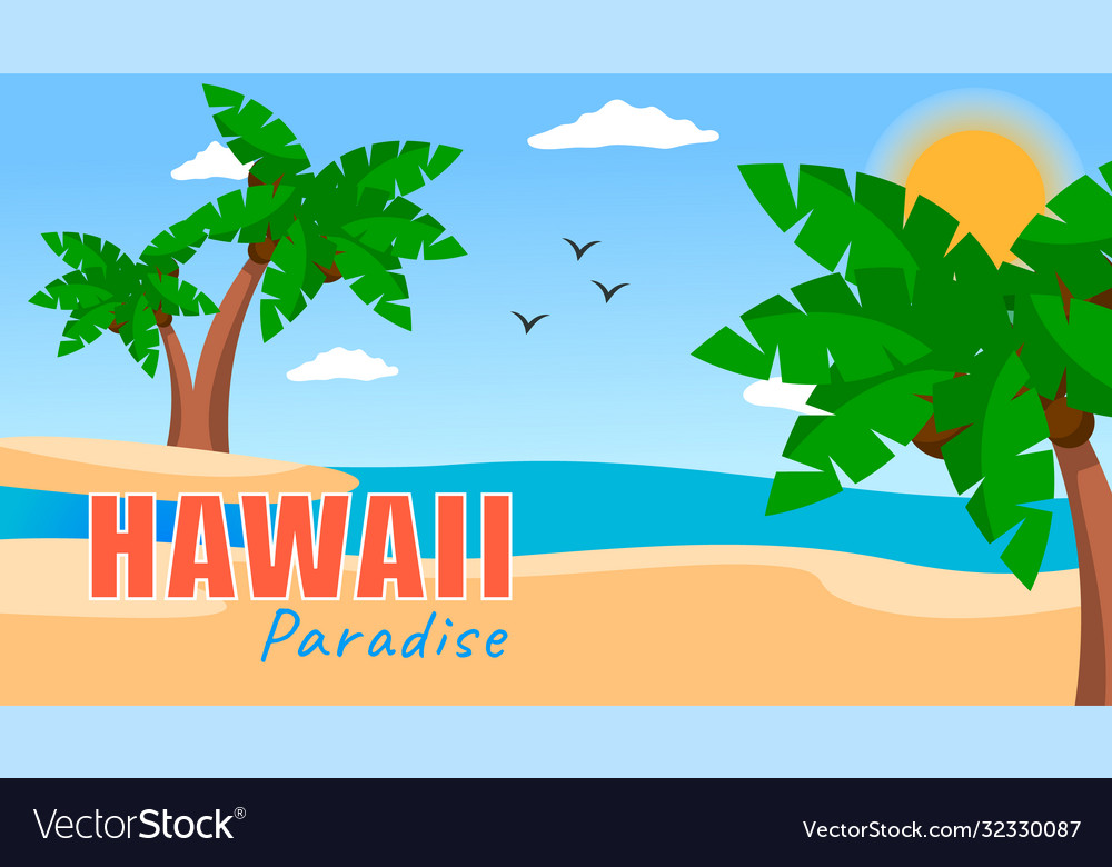 Hawaii paradise summer poster with palms vector