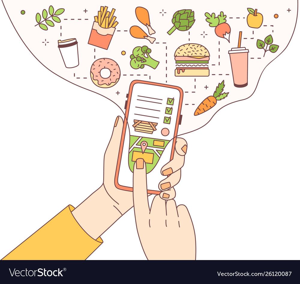 Poster template with hands holding phone with food
