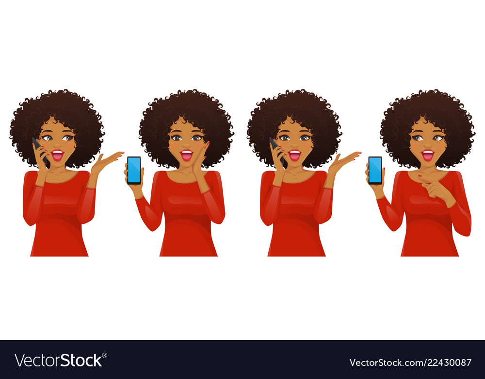 Surprised african woman with phone