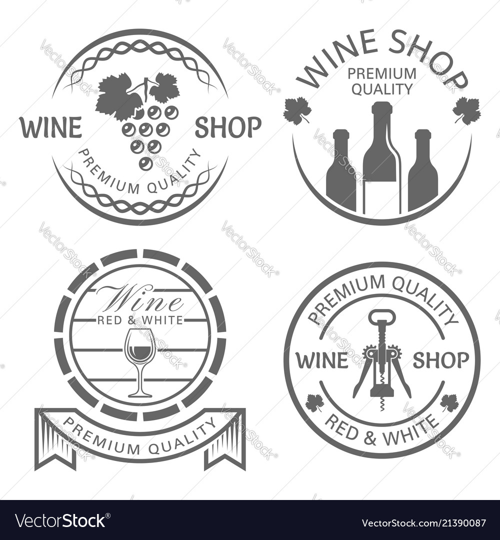 Wine shop set monochrome vintage labels