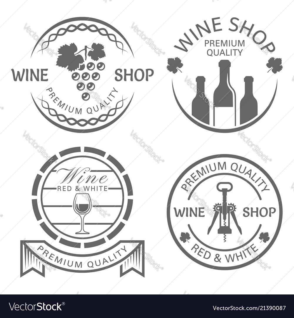 Wine shop set of monochrome vintage labels