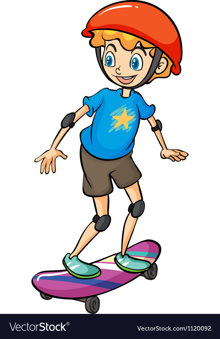 A boy playing skateboard vector image