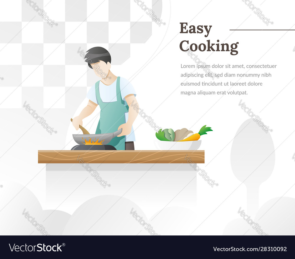 A man cooks food in kitchen