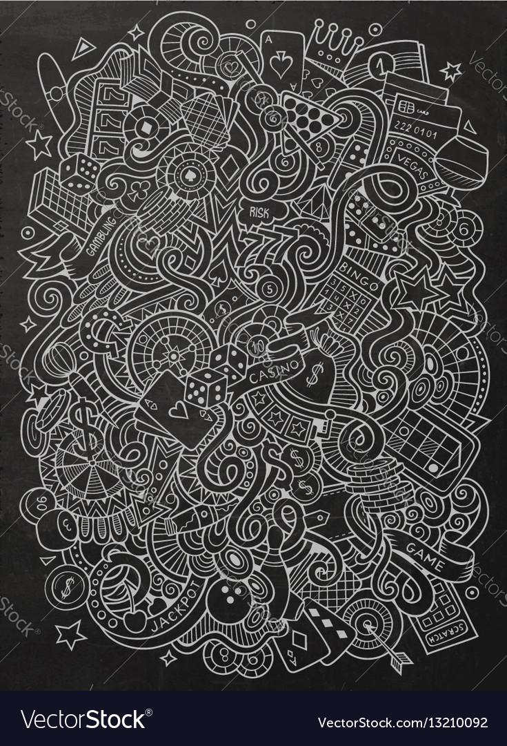 Cartoon hand-drawn doodles casino gambling vector image