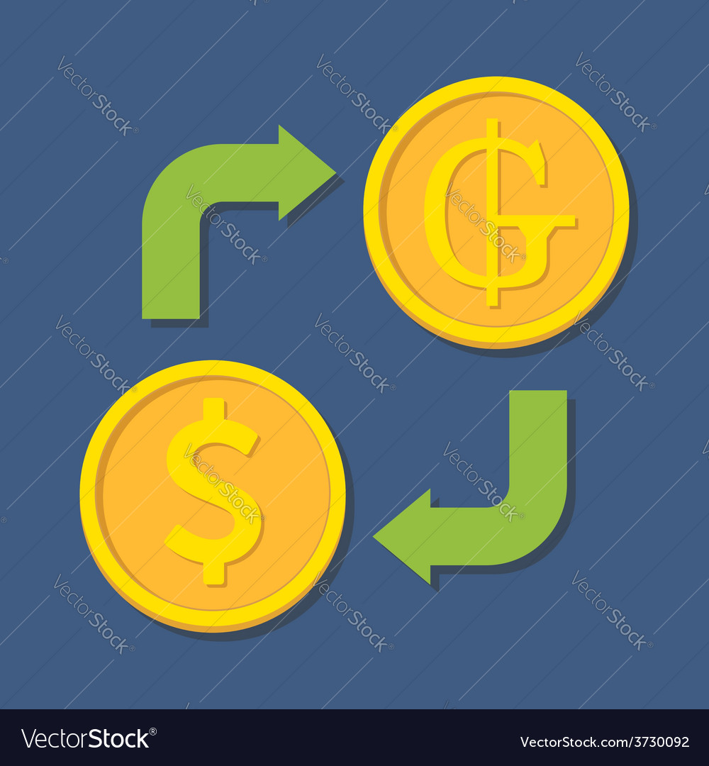 Currency Exchange Dollar And Guarani Vector Image