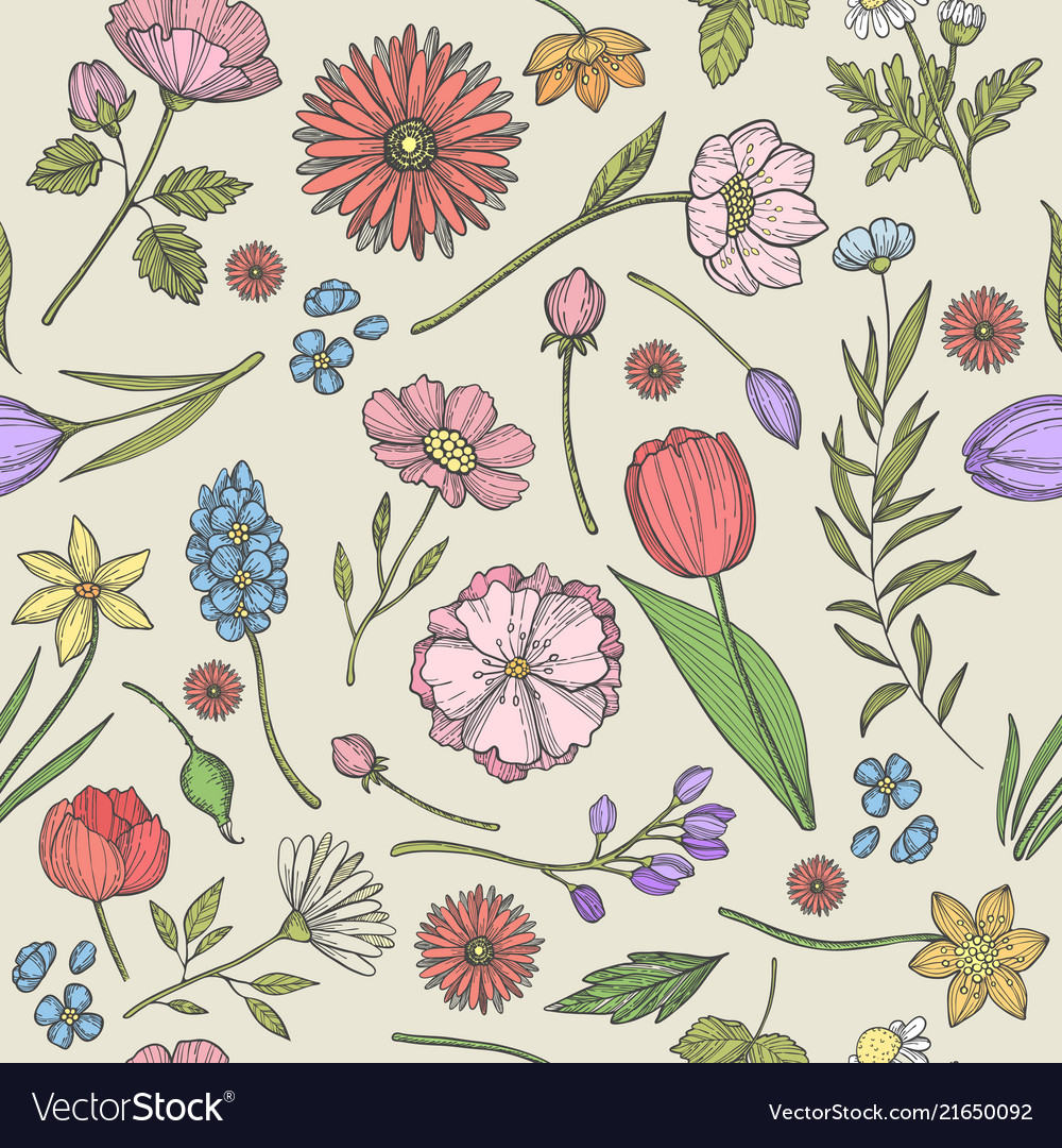 Flowers and plants pattern seamless background