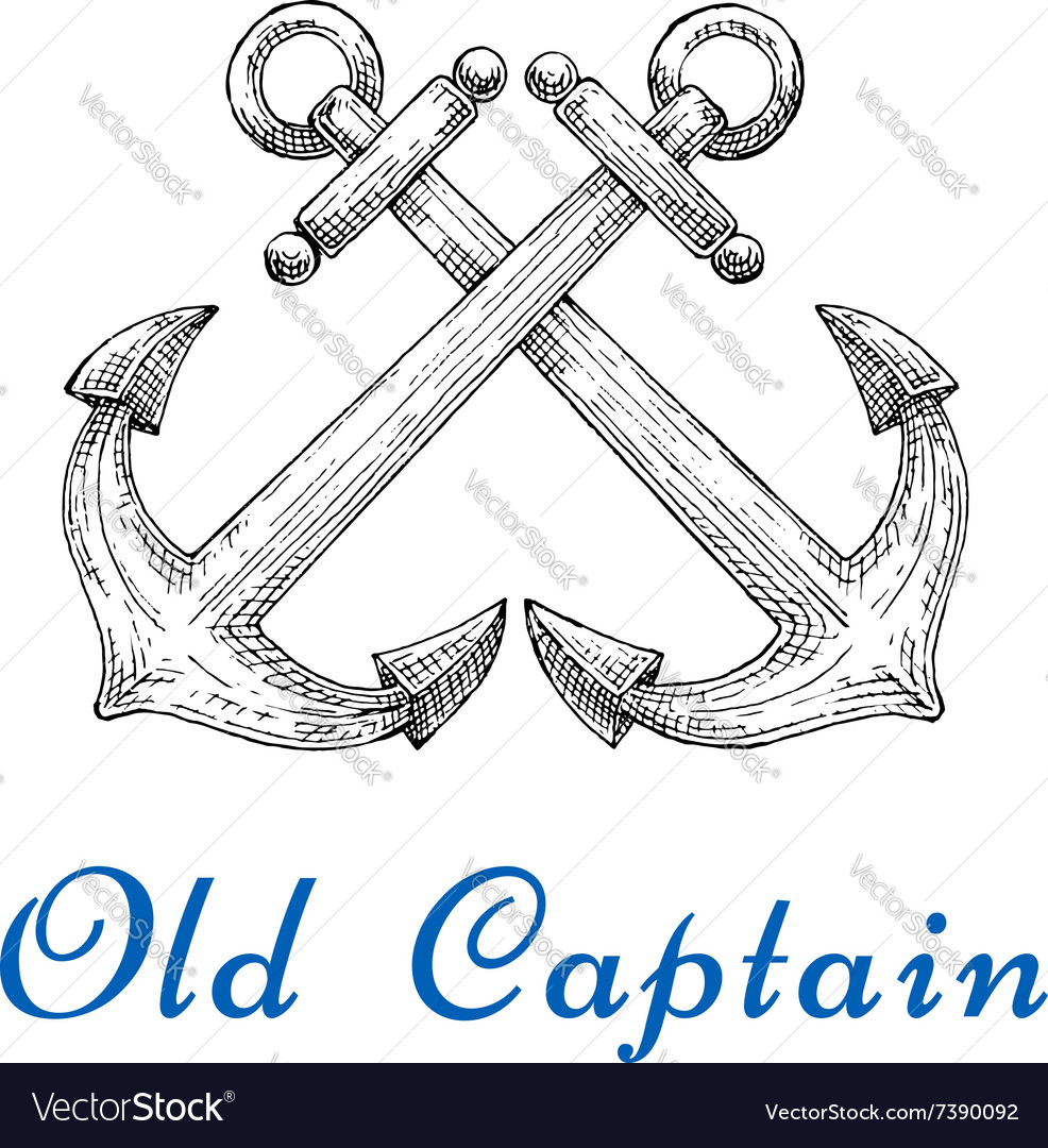 Heraldic sketch of crossed nautical anchors
