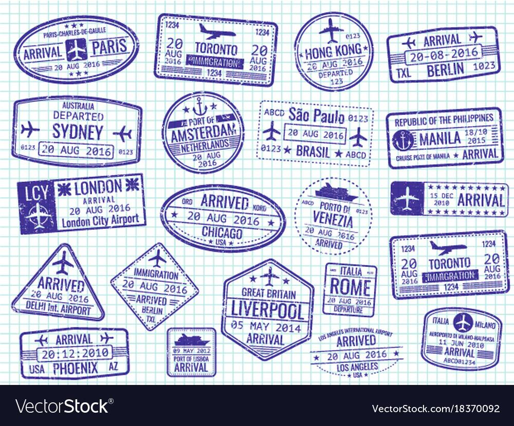 International visa stamps - arrival departure vector image