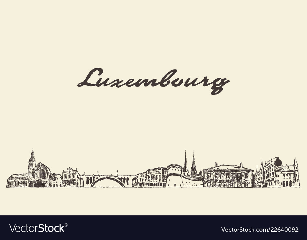 Luxembourg big skyline city drawn sketch