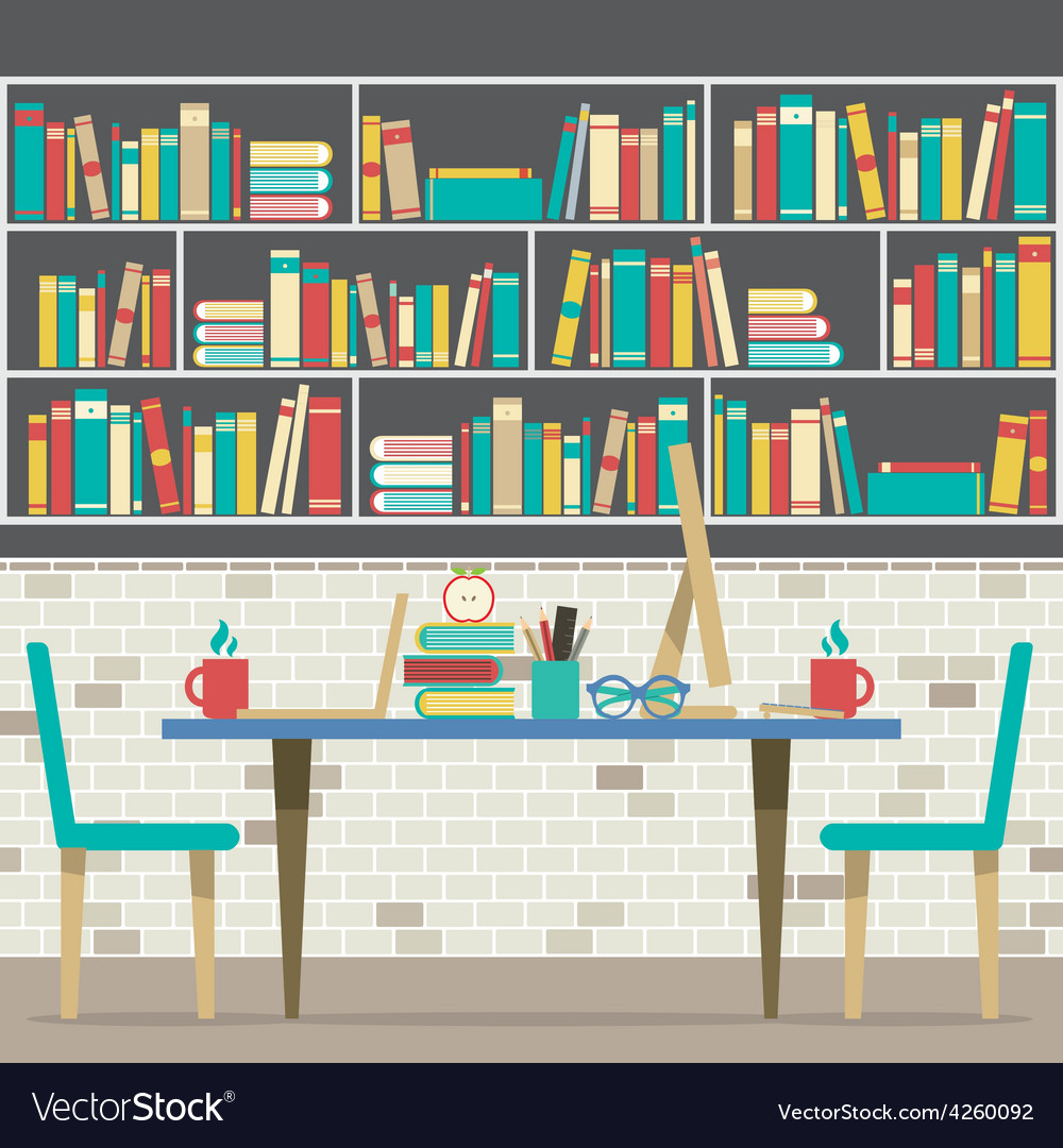Modern Flat Design Workplace With Bookcase