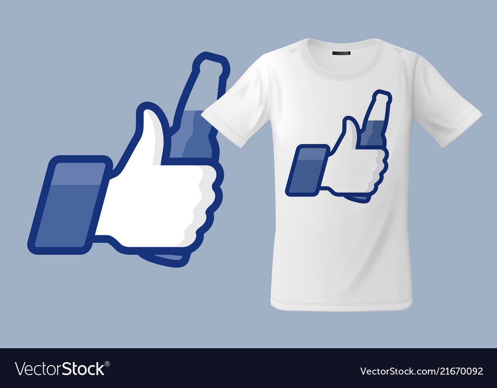 Modern t-shirt design with thumbs up icon with