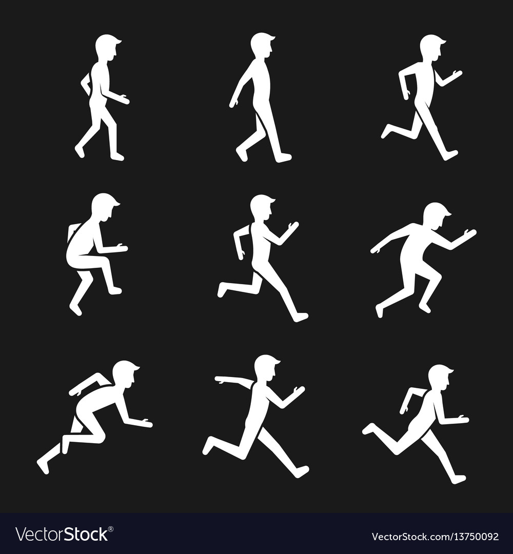 Motion activity figure icons human actions like