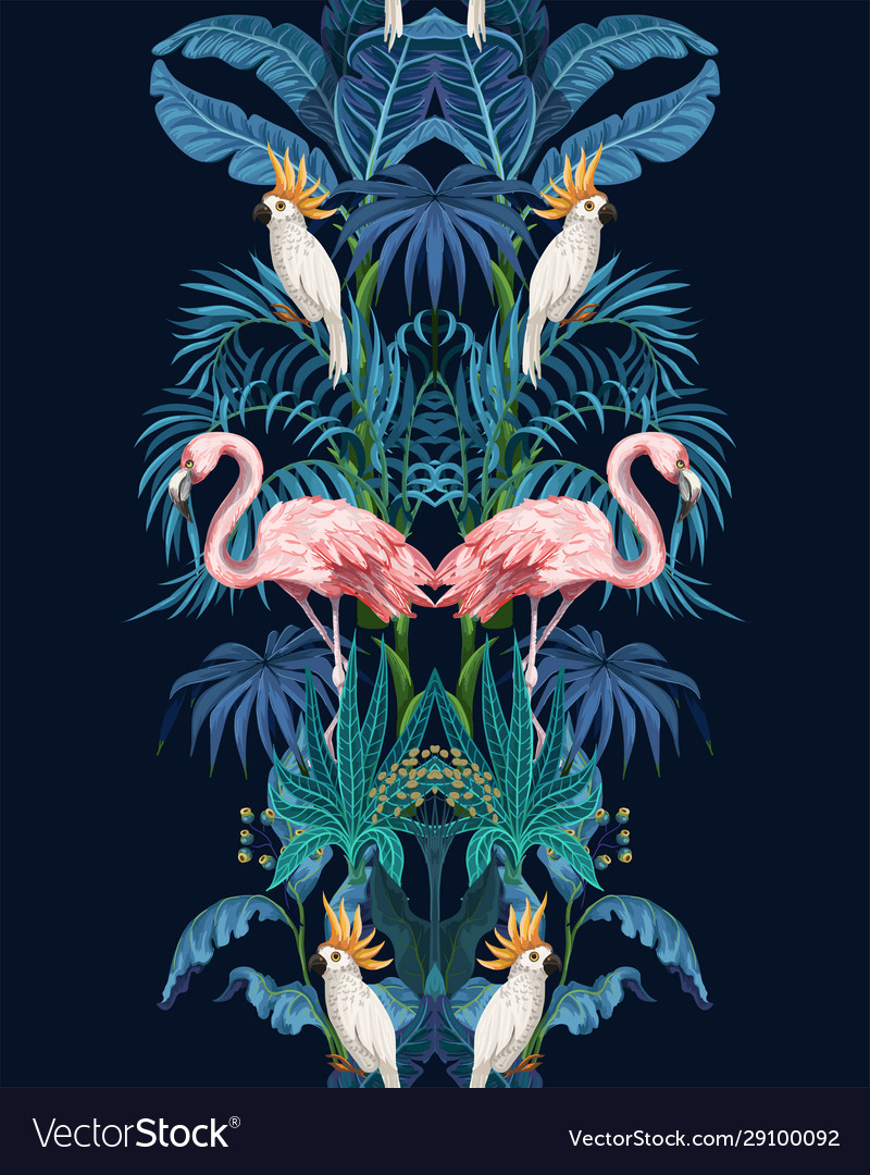 Seamless border with jungle trees flamingo and